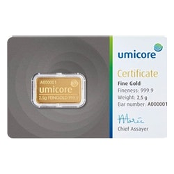 2,5 gr goudbaar met certificaat